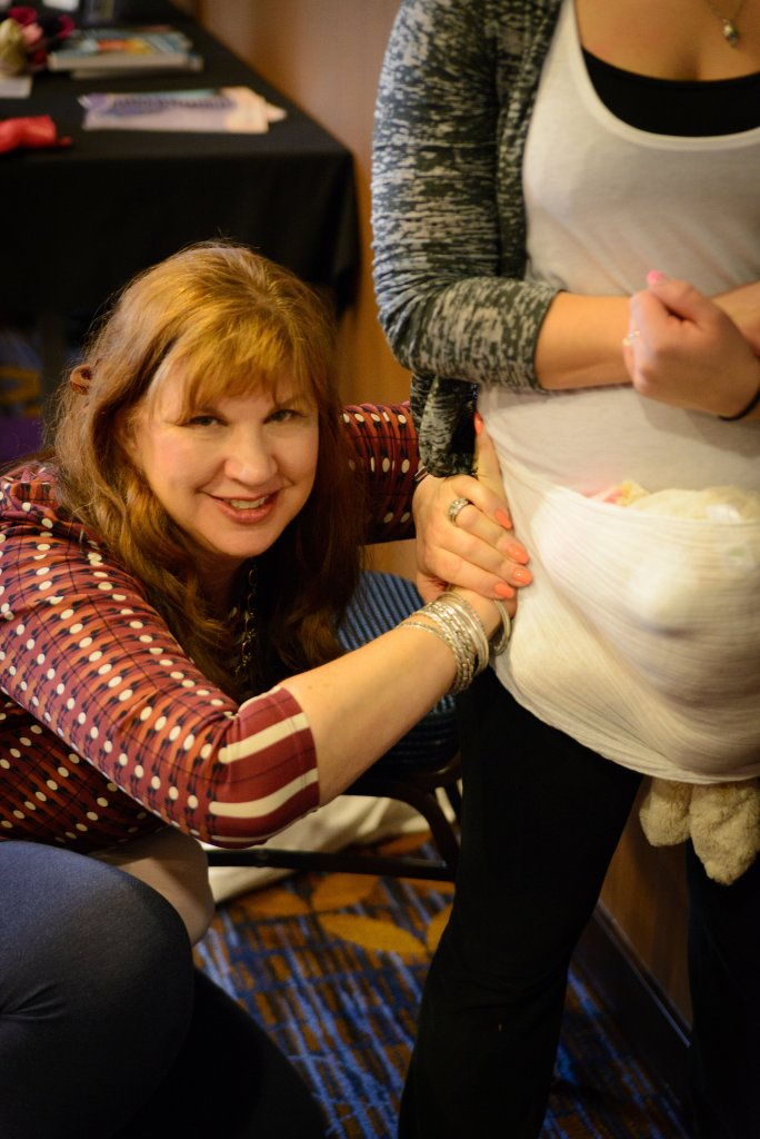 Dr. Amy Gilliland, Ph. D. adjusting a Rebozo - jpg